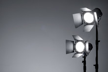 Equipment For Photo Studio And Fashion Photography. Light Gray Background. Ready To Shoot Concept.