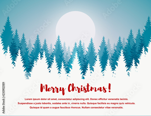 Horizontal Merry Christmas and Happy New Year greeting card. Christmas tree winter landscape.