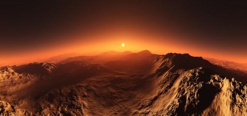 Fototapeta Mars at sunset, the surface of Mars at sunrise,