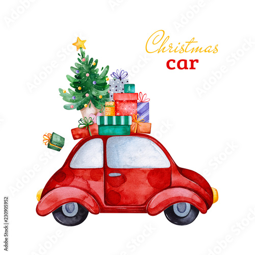 christmas abstract retro car with christmas treegifts and other decorationswatercolor holiday illustration