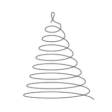 Christmas Tree. Thin Black Wired Spiral In A Shape Of Christmas Tree. Simple Modern Vector Illustration.
