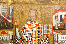 Bardejov, Slovakia. 2018/8/9. An Icon Of  Saint Nicholas Of Myra (also Known As Nicholas Of Bari Or Nicholas The Wonderworker). Around 1550-1580. From A Church In Dubova. Currently In A Museum.
