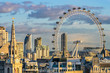 canvas print picture - London skyline with London eye at sunset