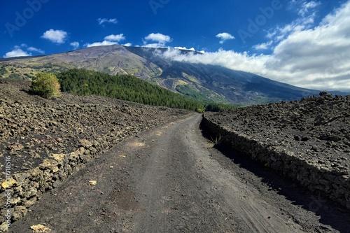 Vászonkép  Dirt Road To Etna Mount, Sicily