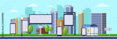 Fototapeta City advertising illustration. Vector cityscape with blank billboards and banners. Business promotion and advertisement obraz