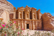 Famous Facade Of Ad Deir In Ancient City Petra, Jordan. Monastery In Ancient City Of Petra. The Temple Of Al Khazneh In Petra Is One Of UNESCO World Heritage Sites And One Of The World Wonders