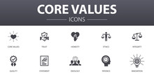 Core Values Simple Concept Icons Set. Contains Such Icons As Trust, Honesty, Ethics, Integrity And More, Can Be Used For Web, Logo, UI/UX
