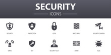 Security Simple Concept Icons Set. Contains Such Icons As Protection, Security Camera, Key, Bomb And More, Can Be Used For Web, Logo, UI/UX