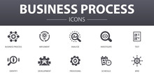 Business Process Simple Concept Icons Set. Contains Such Icons As Implement, Analyze, Development, Processing And More, Can Be Used For Web, Logo, UI/UX