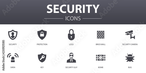 Carta da parati Security simple concept icons set