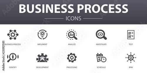 Foto  Business process simple concept icons set