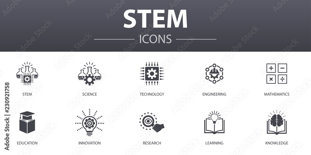 Fototapety, obrazy: STEM simple concept icons set. Contains such icons as science, technology, engineering, mathematics and more, can be used for web, logo, UI/UX