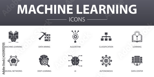 Machine learning simple concept icons set Canvas Print