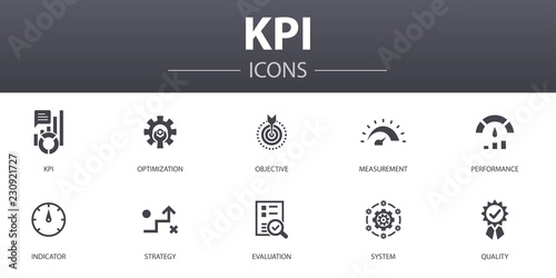 Fotomural KPI simple concept icons set