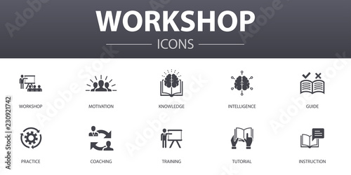 Pinturas sobre lienzo  workshop simple concept icons set