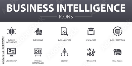 Fotografie, Obraz  Business intelligence simple concept icons set