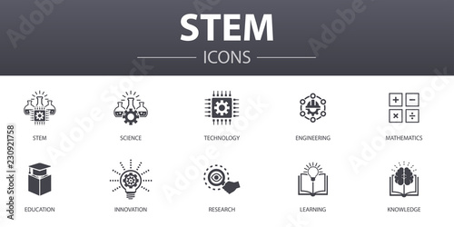 Fototapeta STEM simple concept icons set. Contains such icons as science, technology, engineering, mathematics and more, can be used for web, logo, UI/UX obraz