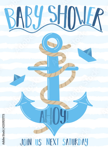 Photo Vector image of an anchor and paper boat with the inscription Baby Shower on a striped blue background