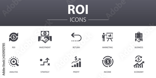 Fotografía  ROI simple concept icons set