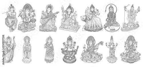 Obraz na plátně Set of Gods for Indian festival, Goddess Durga, Lord Rama and Hanuman