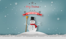 Paper Art Style Of Snowman Standing In Winter, Merry Christmas And Happy New Year Concept.