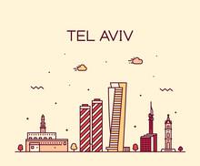 Tel Aviv Skyline Israel Vector...