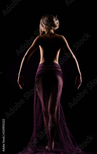 Fotografia, Obraz  Portrait of a young outgoing beautiful sexy woman in a lite purple dress