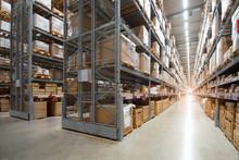 Huge Distribution Warehouse With High Shelves