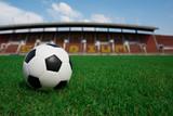 Fototapeta Sport - soccer ball on grass with stadium background