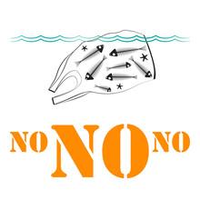 Плакат на белом фоне с концептуальной иллюстрацией на тему загрязнения океана с изображением плывущего полиэтиленового пакета и черепахи внутри него.