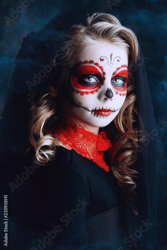 Spoed Fotobehang Halloween make-up of calavera catrina