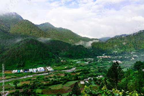 Aluminium Prints Indonesia landscape with green mountains