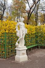 """Sculpture """"Allegory Of Truth"""" In The Summer Garden In St. Petersburg"""