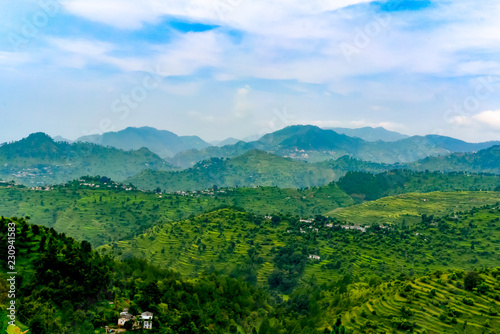 Spoed Foto op Canvas Blauwe hemel Green mountain landscape from Indian state, Uttrakhand