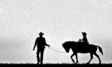 Silhouette Cowboy Riding A Horse On Sunrise. Oil Painting