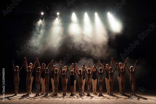 a large group of children have a reverence at the end of the performance Fototapet