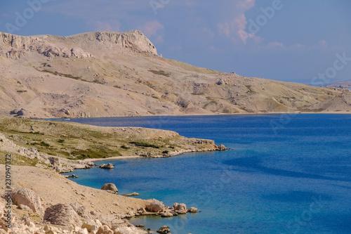 Scenicc sea shore on Pag island in Croatia