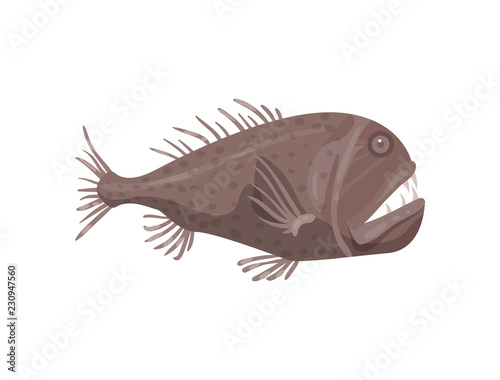 Fotografie, Obraz  Flat vector icon of piranha fish