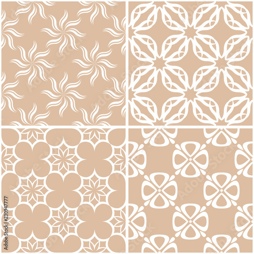 Foto op Canvas Kunstmatig Floral patterns. Set of beige and white seamless backgrounds