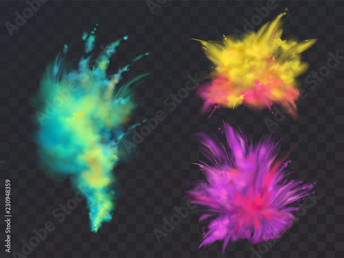 Fototapeta Vector realistic set of colorful powder clouds or explosions, isolated on transparent background. Abstract ink splashes, decorative vibrant paints for Holi fest, traditional spring indian holiday obraz