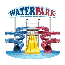 Vector Illustration Of Screw Plastic Blue, Red And Yellow Slides With Water In Pool At Water Park On White Background