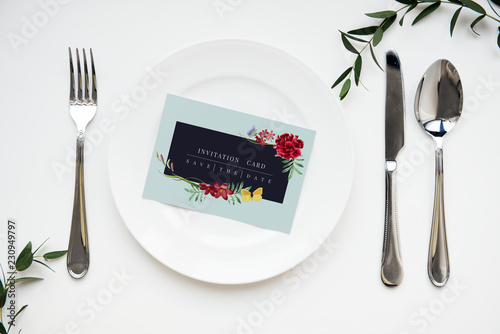 Invitation on a plate setting