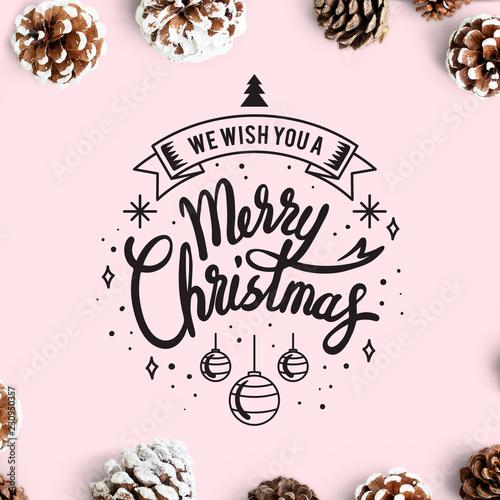 Fototapeta  We wish you a Merry Christmas card mockup