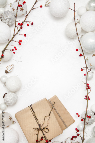 Fotografia, Obraz  Christmas white wood background with bauble and red berries
