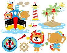 Vector Illustration Of Sailing Theme Set Cartoon, Ship, Animals Sailor, Island, Lighthouse. Eps 10