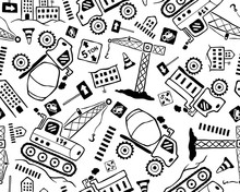 Seamless Pattern Vector Of Construction Vehicle Cartoon