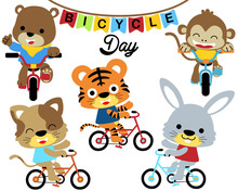 Set Of Animals Cartoon Bicycling