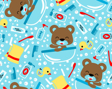 Seamless Pattern With Little Bear In Bathroom