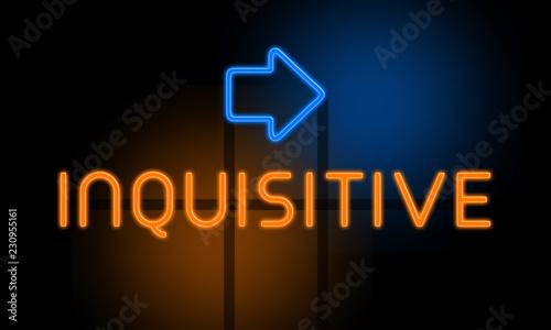 Pinturas sobre lienzo  Inquisitive - orange glowing text with an arrow on dark background