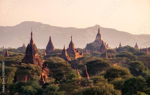 Poster Monument Landscape view of ancient temples at colorful golden sunset, Bagan, Myanmar